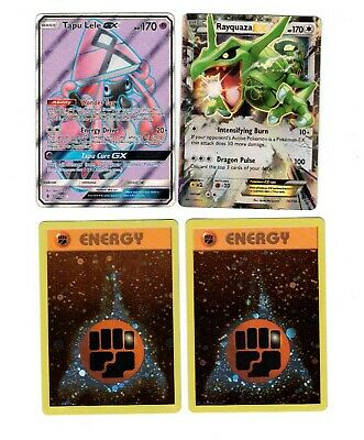 4 - Foil Pokemon Cards: RAYQUAZZA EX, Tapu Lele EX, & 2 Foil Energy NEW