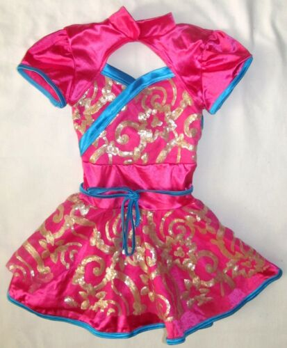 Weissman Pink Blue Gold Sequins Dance Costume Dress Youth Girls Size Small 5 6