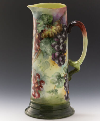 LIMOGES HAND PAINTED GRAPES TANKARD PITCHER