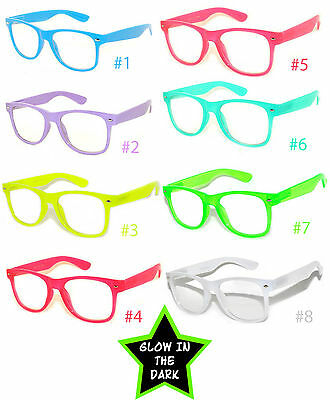 Glow In Dark Sunglasses (GLOW IN THE DARK VINTAGE RETRO OWL CLEAR LENS SUNGLASSES PARTY)