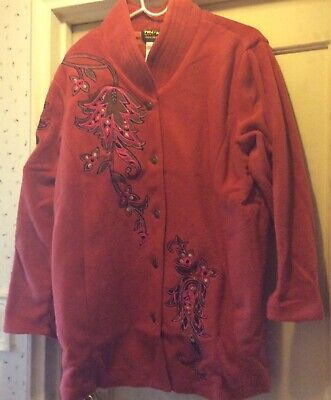 Bob Mackie Wearable Art Fleece Applique Jacket Size 1X NWT
