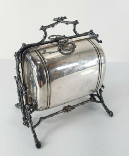 Antique English Silverplate Mechanical Bun Bread Warmer Biscuit Box