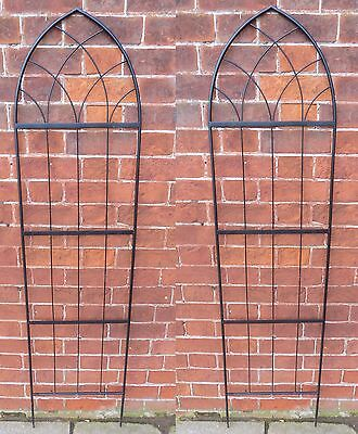 Metal Plant Support Trellis Garden Gothic Black Frame Set of 2 x 1.6m high