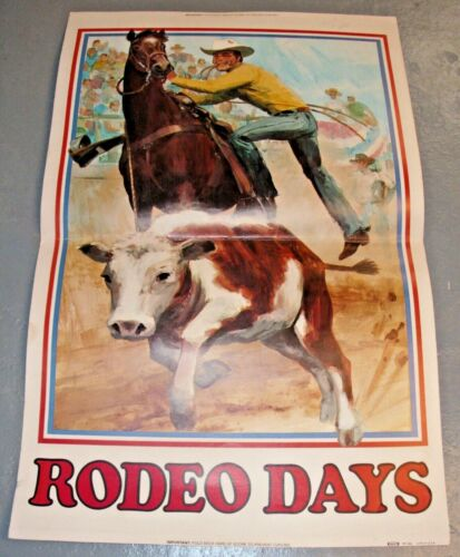 KRAFT FOODS RODEO DAYS COWBOY 1970 ARTIST STORE DOUBLE SIDED POSTER