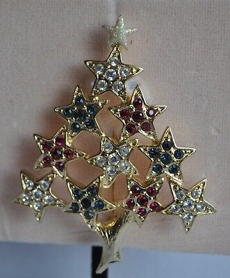 KIRKS FOLLY  CHRISTMAS TREE RED, WHITE AND BLUE  PIN GOLD  TONE