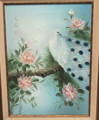 JAPANESE PEACOCK BIRD ON BLOSSOMS TREE ORIGINAL OIL ON CANVAS PAINTING SIGNED