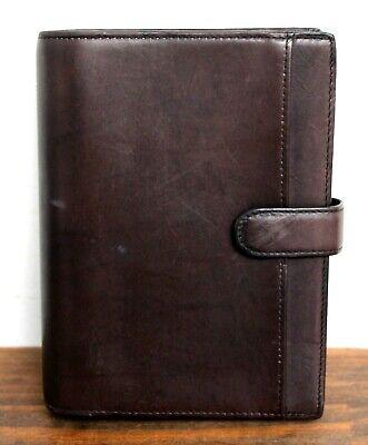5.5x7.25 Brown Genuine Leather Planner Organizer Paper Holder Binder 6 Rng 0.5