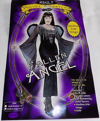 NEW WOMENS COSTUME FALLEN ANGEL BLACK & SILVER DRESS WINGS & HALO SZ M L 8 - 14](Black Fallen Angel Costume)