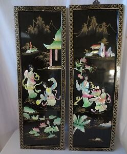 2 vtg chinese carved shell mother of pearl wall art black. Black Bedroom Furniture Sets. Home Design Ideas