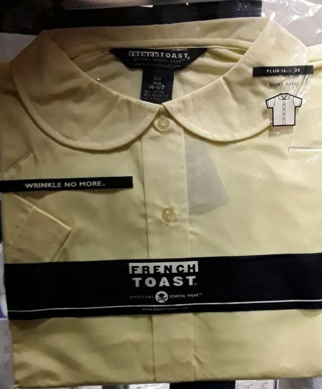 French Toast Girls Uniform Shirt, Yellow, Short Sleeve, Plus 16 1/2, NEW