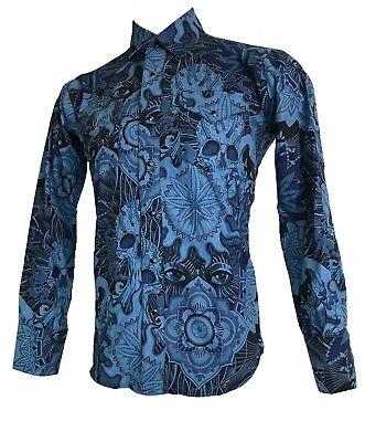 SHRINE GOTHIC ROCKER Spirit Marijuana cannabis RETRO BLUE EYE TATTOO SHIRT Casual Button-Down Shirts