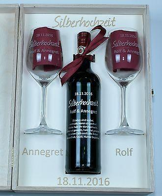 Rotweinset VinoGrande Flasche/Gläser/Holzkiste Gravur Hochzeit Jubiläum Geschenk Flasche Gläser