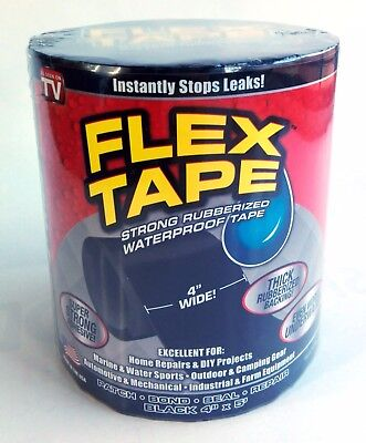 "AS SEEN ON TV Black Flex Tape 4"" x 5' Strong Rubberized WaterProof Seal Tape"