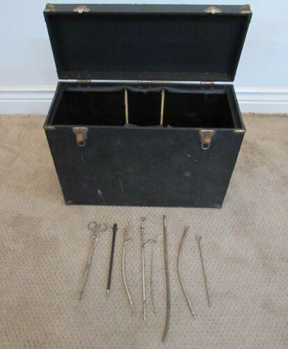 ANTIQUE MORTICIAN TOOL KIT, CASE, 99 REDBOOK, INSTRUMENTS, HALLOWEEN, MOVIE PROP