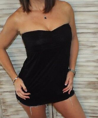Clubwear Tube Top (Very Sexy Strapless Clubwear Party All Lace Flare Babydoll Tube Top Black S/M/L)