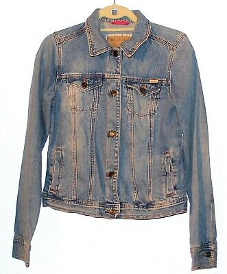 Hollister by Abercrombie Distressed Denim Jacket Women's Size Large Blue