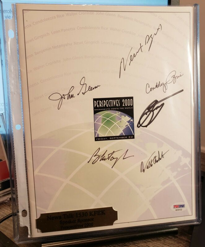 PSA Signed Autographs Benjamin Netanyahu, Condoleezza Rice, John Glenn Gingrich+