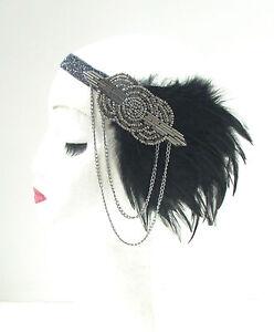 Black Grey Silver Feather Headpiece 1920s Headband Flapper Great Gatsby Vtg 44