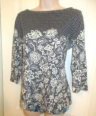 Lands' End, Black/White Gingham/Floral Print Top, Boat Neck, 3/4 Slv, Cotton, M