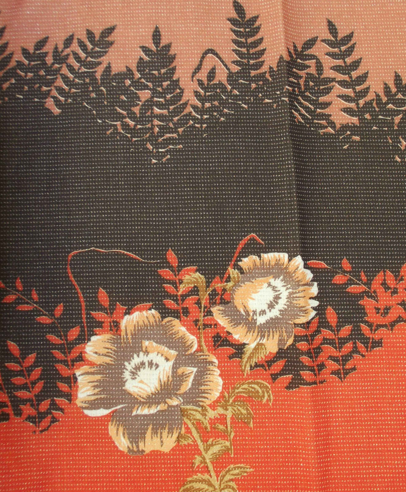 "Vintage fabric remnant Orange floral material Sparkly crimplene UNUSED 60""Wx44""L"