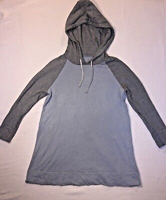 James Perse Womens 2 Tone Supima Cotton Terry Pullover Raglan Hoodie 2/M NWOT 2 Womens Raglan Hoodie