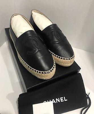 AUTHENTIC Chanel Black Lambskin Leather Espadrilles NIB Size 38 US 7.5