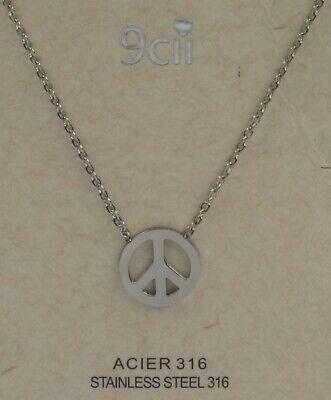 Damen Hals Kette hochwertiger Edelstahl 316 Anhänger Peace Zeichen Farbe silber