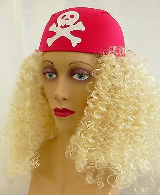 Rosa Piraten-kostüme (Hut Pirat rosa - Piratenhut pink weiß Piratin Kostüm Zubehör Bandana 122159613)