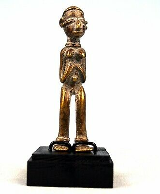 Art African - Antique Figure Bronze Akan - Base on Gauges - 11,5 CMS