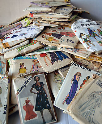 Huge Mixed Lot 180 Vintage Old Sewing Patterns Simplicity McCalls Butterick