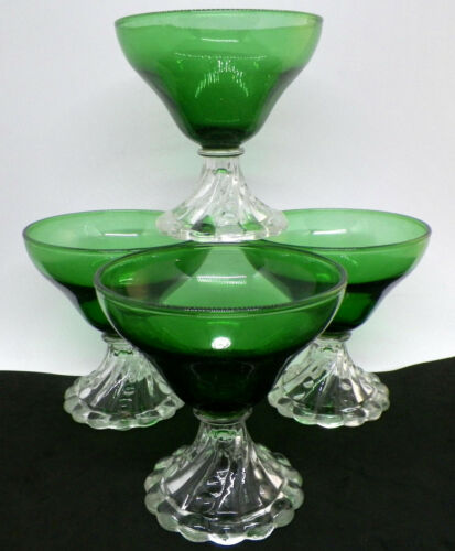 4 Anchor Hocking Burple Inspiration Forest Green Champagne/Tall Sherbet glasses
