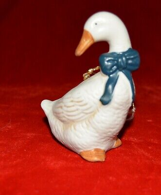 White Goose ceramic Christmas tree ornament 3.5""