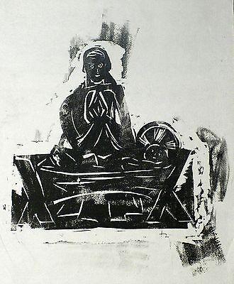JOACHIM HEUER - Maria mit dem Christuskind - Linolschnitt um 1930