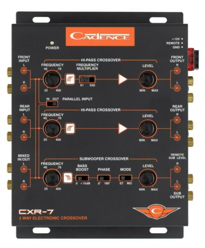 Cadence CXR7 3-Way Electronic Crossover with 7V Line Driver Car Audio
