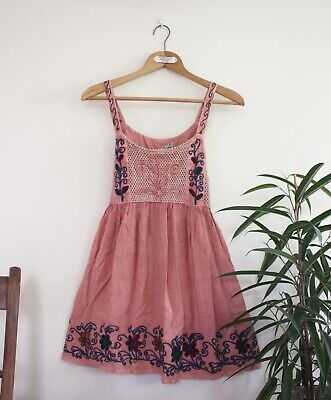 Vintage Pink Indian Floral Embroidered Mini Dress - boho hippy - One Size