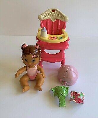 Fisher Price Snap N Style Dinnertime for Dahlia ~ Doll Highchair Hat Bib Romper