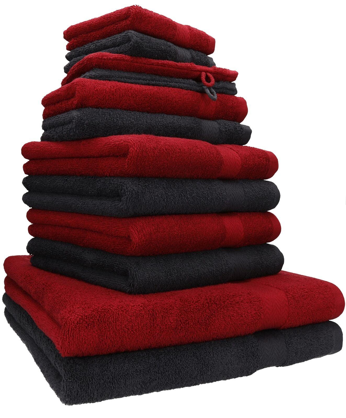 12er Handtuch Set Handtücher Duschtücher PREMIUM 100% Baumwolle rubinrot / grau