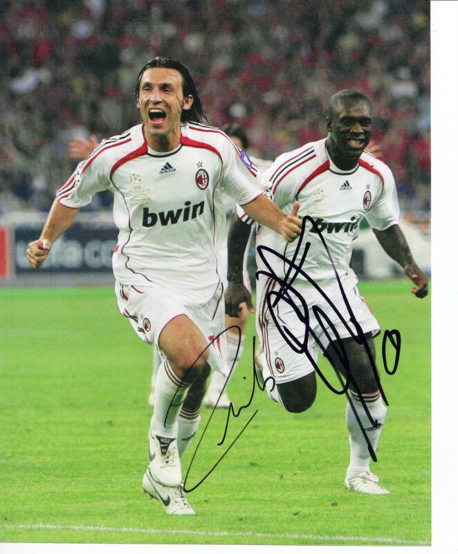 Andrea Pirlo & Clarence Seedorf Unterzeichnet 10X8 Foto A.C. Mailand AFTAL COA
