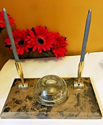 Vintage Brown Granite Desk Pen Holder Stone With Double Cross Pen Pencil Set