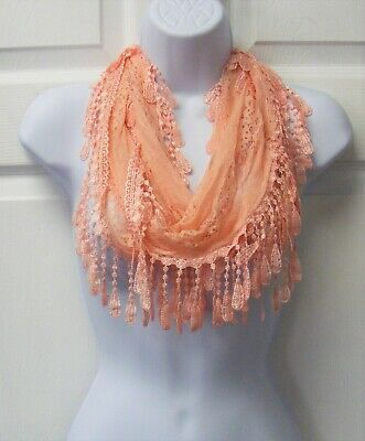 Peach Color Summer Scarf Lace Infinity Eternity Circle Scarf Tassels Fringed NEW