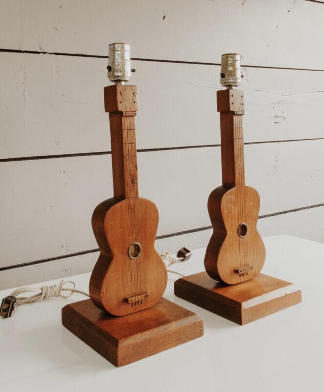 Vintage Pair Of Guitar Lamps Mid Century Folk Art