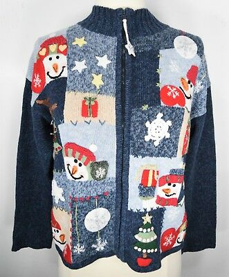 Tiara Girls Ugly Christmas Cardigan Sweater Zip Up Snowmen Size Large 12/14  (Ugly Christmas Sweater Girls)