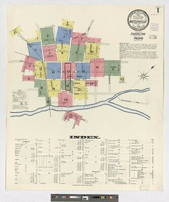 Watsonville, California~Sanborn Map© sheets~ 1908 ~ 25 map sheets in color on CD
