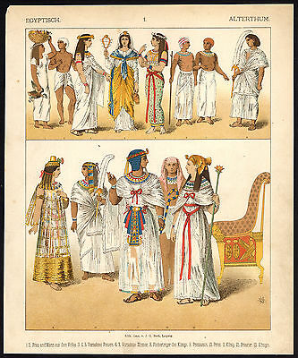 Antique Print-ANCIENT EGYPT-COSTUME-KING-PRIEST-PL. 1-Kretschmer-Rohrbach-1882