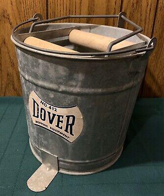 Vtg Industrial Dover Mopping Equipment No. 412 Galvanized Metal Wringer Bucket