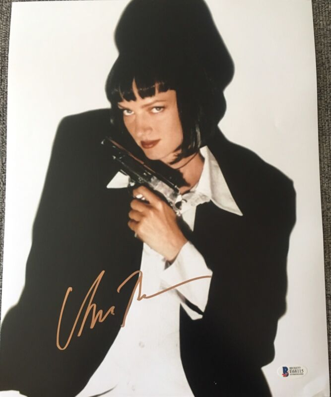 UMA THURMAN SIGNED AUTOGRAPH PULP FICTION CLASSIC POSTER 11x14 PHOTO BECKETT E