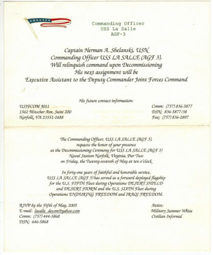 USA DECOMMISSIONING CEREMONY INVITE NAVY SHIP USS LASALLE + Commander Letter!