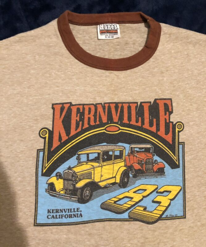 Vintage Hanes Poly Cotton 1983 Kernville California Hot Rod XL 46-48  Made USA