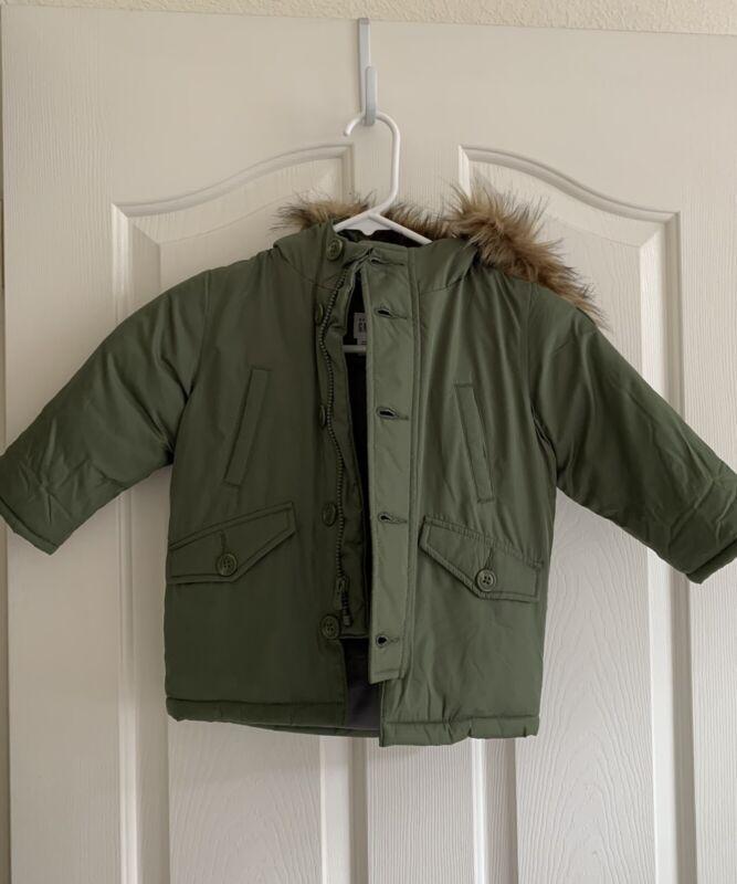 Baby Gap 18-24 Months Boy Winter Coat- Green With Faux Fur Hood
