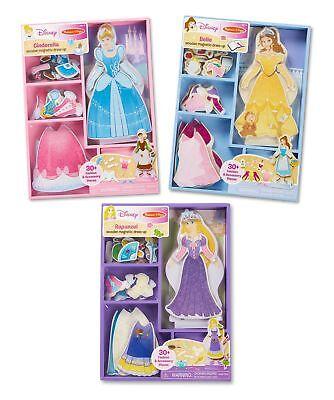Melissa  Doug Disney Cinderella, Belle, and Rapunzel Magnetic Dress-Up Wooden